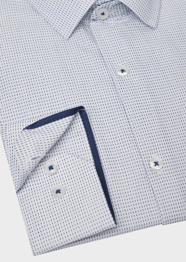 Chemise habillée Slim en popeline de coton bleu à motif fantaisie - Father and Sons 37204