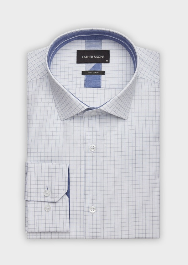 Chemise habillée Slim en popeline de coton blanc à carreaux - Father and Sons 38335