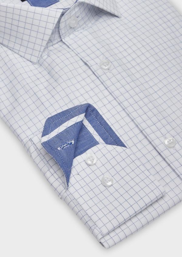 Chemise habillée Slim en popeline de coton blanc à carreaux - Father and Sons 38338