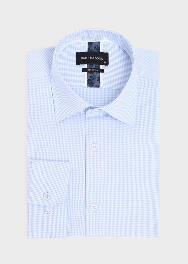 Chemise habillée Slim en coton façonné bleu ciel à carreaux blancs - Father and Sons 34880