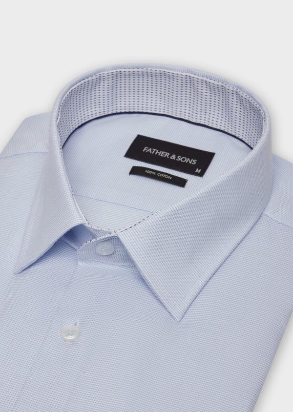 Chemise habillée Slim en coton façonné bleu ciel à motifs  géométriques - Father and Sons 36671