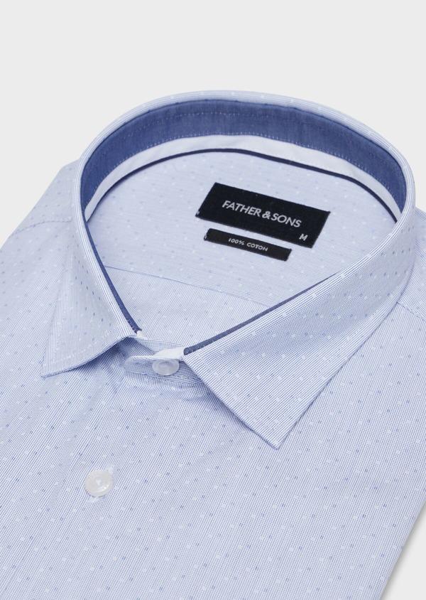 Chemise habillée Slim en coton fil à fil bleu ciel à pois bleus et blancs - Father and Sons 34934