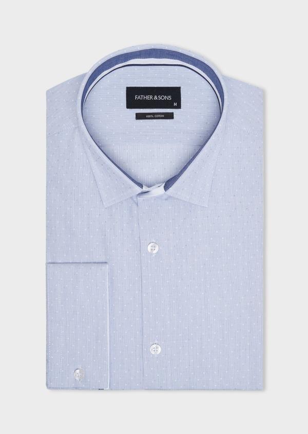 Chemise habillée Slim en coton fil à fil bleu ciel à pois bleus et blancs - Father and Sons 34932