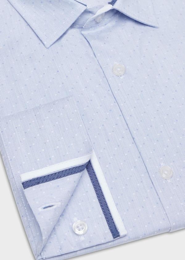 Chemise habillée Slim en coton fil à fil bleu ciel à pois bleus et blancs - Father and Sons 34935