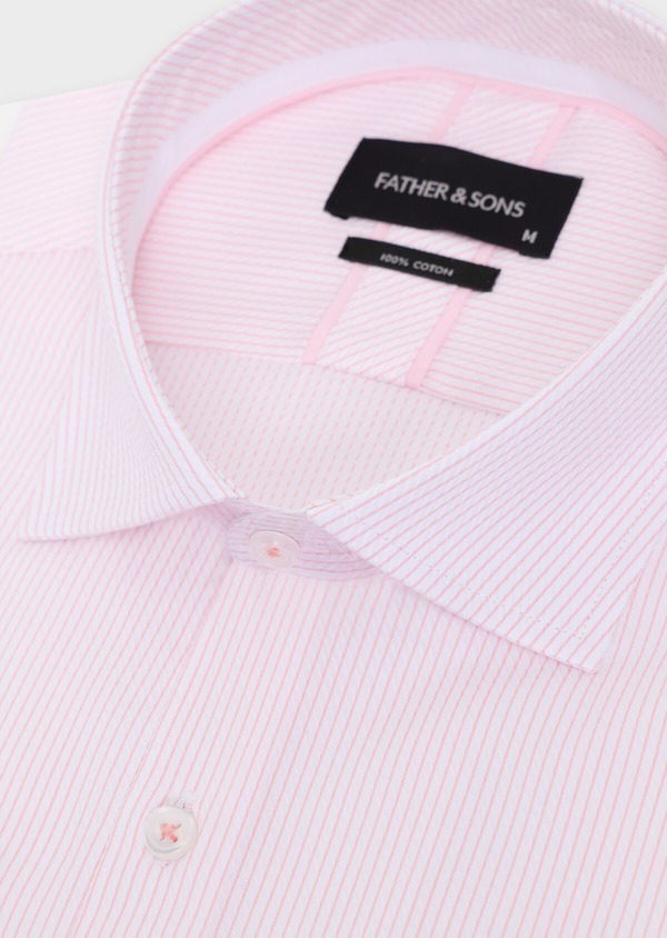 Chemise habillée Slim en coton Jacquard à rayures roses et blanches - Father and Sons 34906