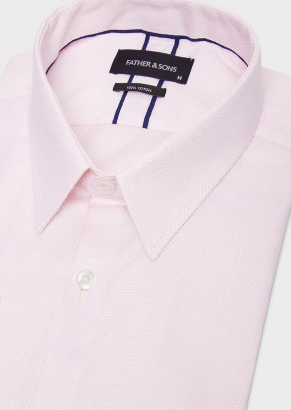 Chemise habillée Regular en coton Jacquard rose à pois - Father and Sons 36690