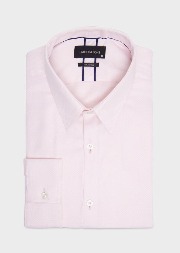 Chemise habillée Regular en coton Jacquard rose à pois - Father and Sons 36688