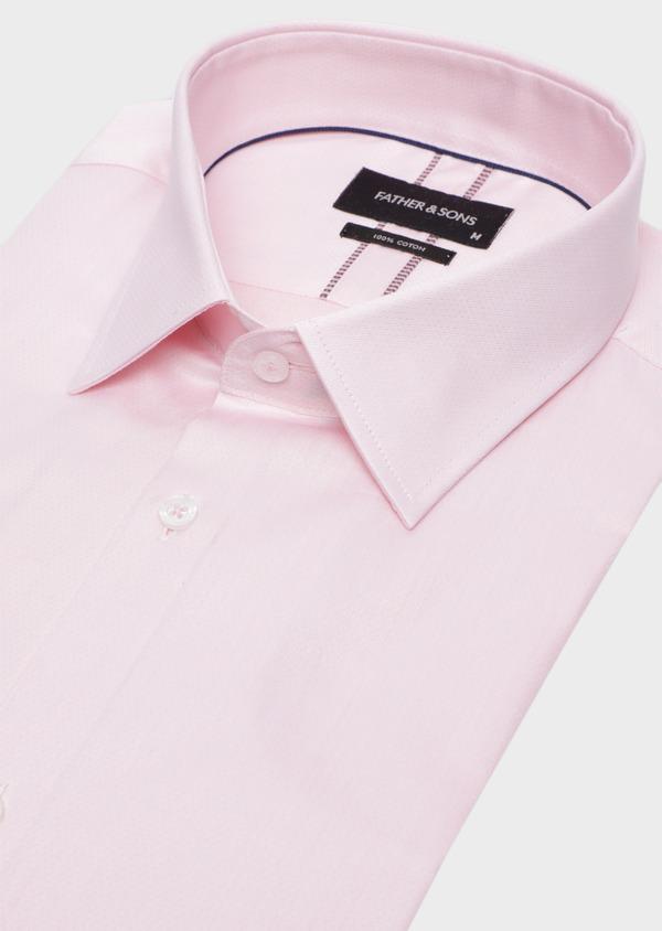 Chemise habillée Slim en twill de coton rose pâle à pois ton sur ton - Father and Sons 34978