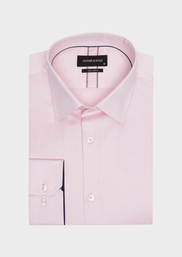 Chemise habillée Slim en twill de coton rose pâle à pois ton sur ton - Father and Sons 34976