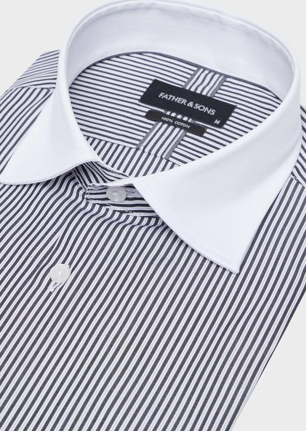 Chemise habillée Slim en popeline de coton blanc à rayures gris anthracite - Father and Sons 34918