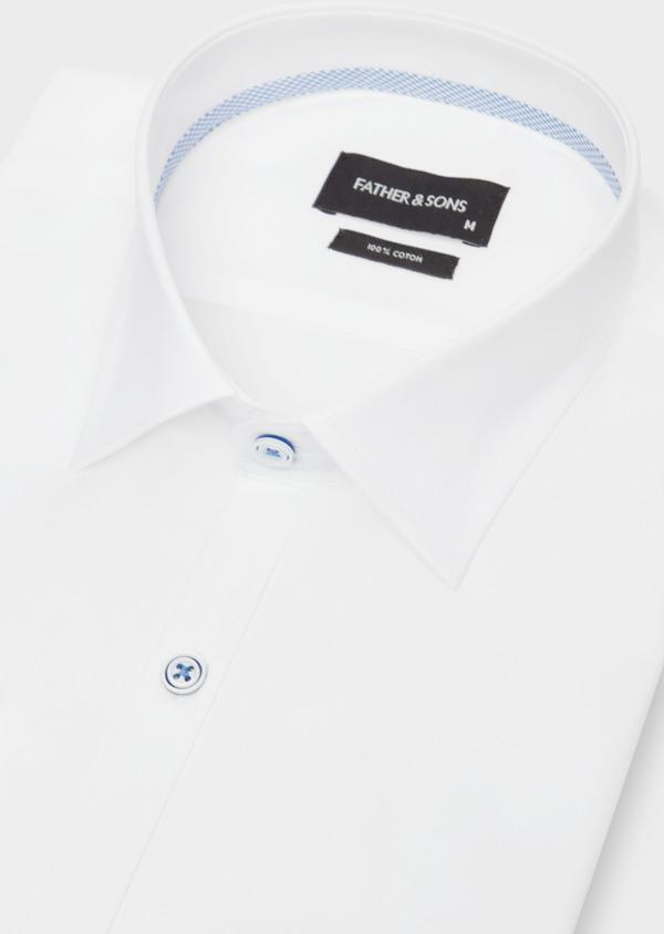 Chemise habillée Slim en coton façonné à rayures diagonales ton sur ton - Father and Sons 38566