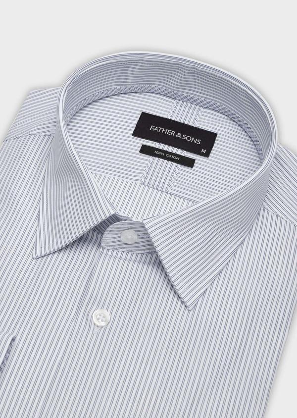 Chemise habillée Slim en popeline de coton blanc à rayures - Father and Sons 38365