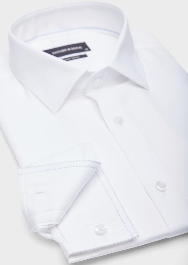 Chemise habillée Slim en coton façonné blanc à fines rayures ton sur ton - Father and Sons 38579