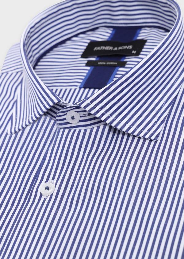 Chemise habillée Slim en popeline de coton à rayures blanches et bleues - Father and Sons 34894