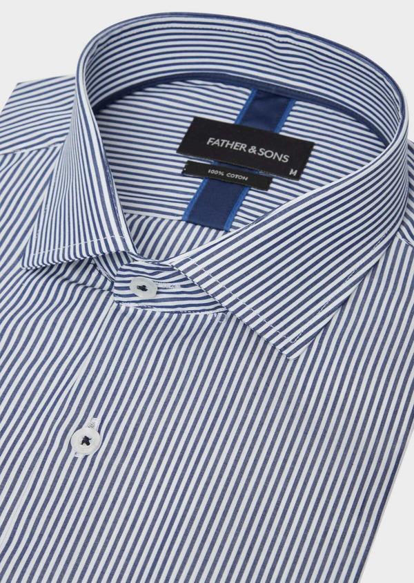 Chemise habillée Slim en popeline de coton bleu à rayures blanches - Father and Sons 37209