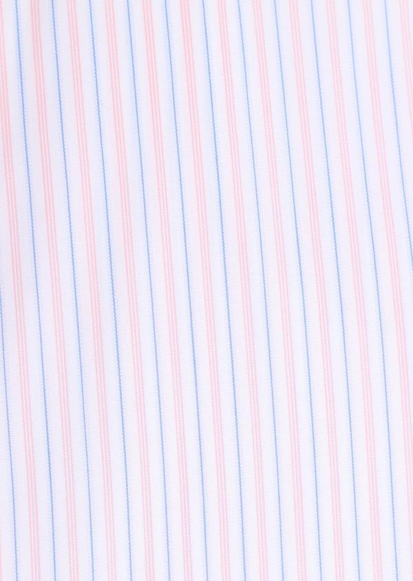 Chemise habillée Slim en popeline de coton à rayures roses, bleues et blanches - Father and Sons 34901