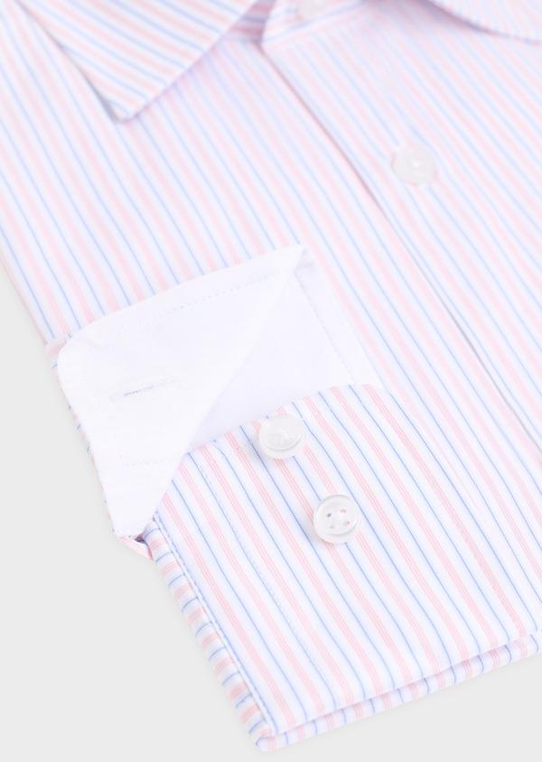 Chemise habillée Slim en popeline de coton à rayures roses, bleues et blanches - Father and Sons 34903