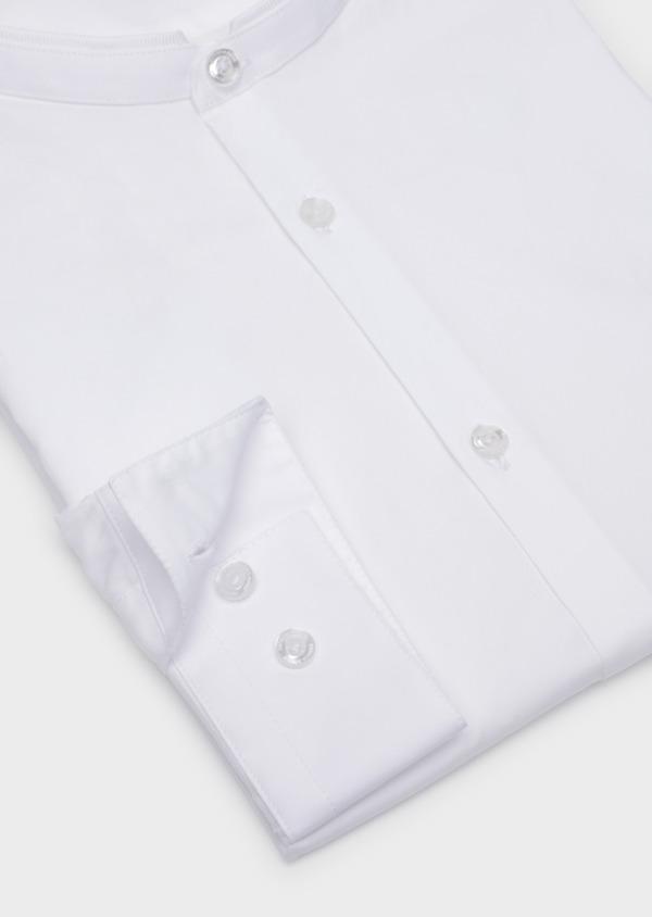 Chemise habillée Slim en satin de coton uni blanc à col officier - Father and Sons 35742