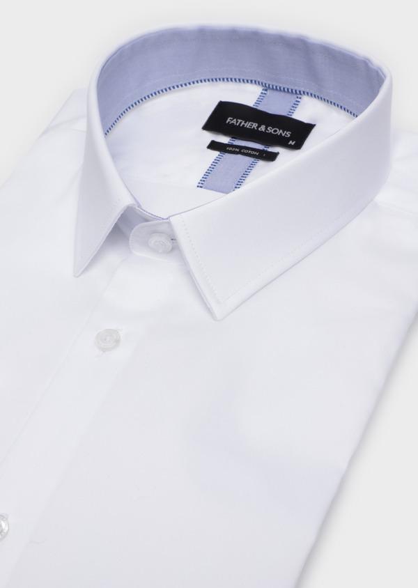 Chemise habillée Slim en satin de coton uni blanc - Father and Sons 34926