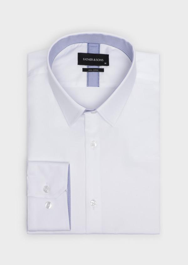 Chemise habillée Slim en satin de coton uni blanc - Father and Sons 34924