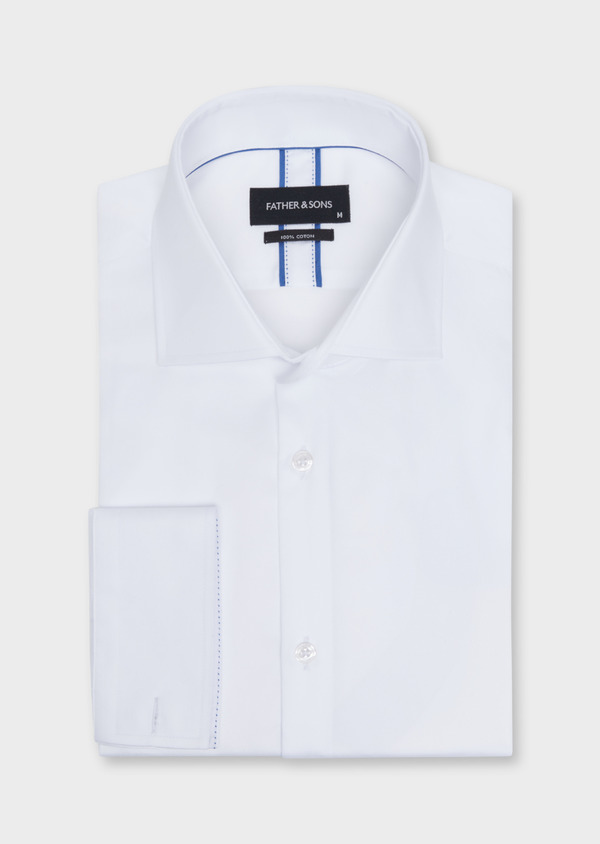 Chemise habillée Slim en satin de coton uni blanc - Father and Sons 34952
