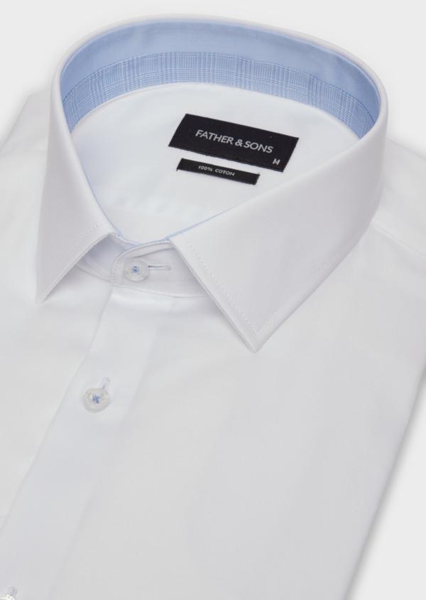 Chemise habillée Slim en satin de coton blanc - Father and Sons 36647