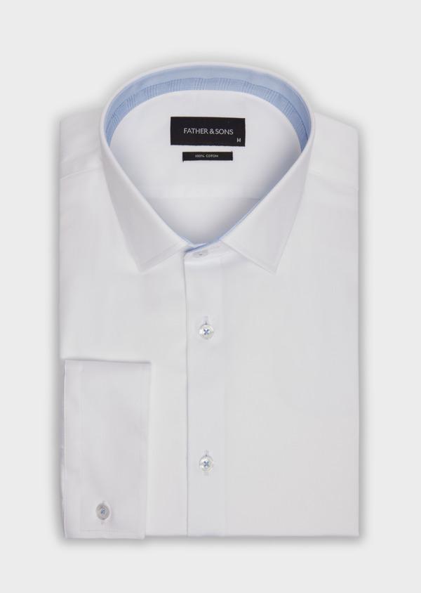 Chemise habillée Slim en satin de coton blanc - Father and Sons 36645
