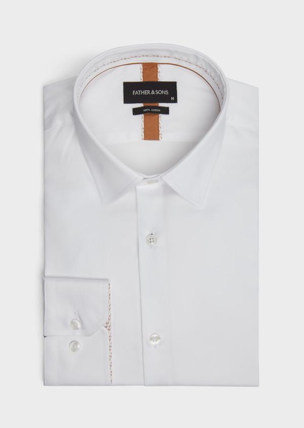 Chemise habillée Regular en satin de coton uni blanc - Father and Sons 39365