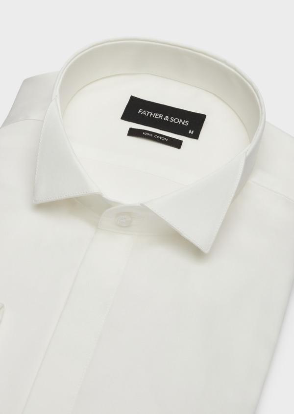 Chemise habillée Slim en popeline de coton écru à col cassé - Father and Sons 37282