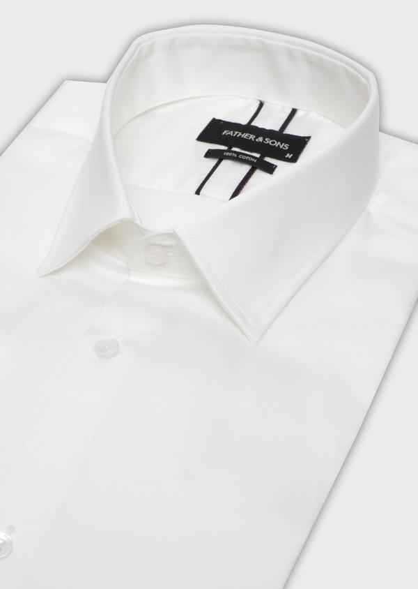 Chemise habillée Slim en satin de coton uni écru - Father and Sons 34974