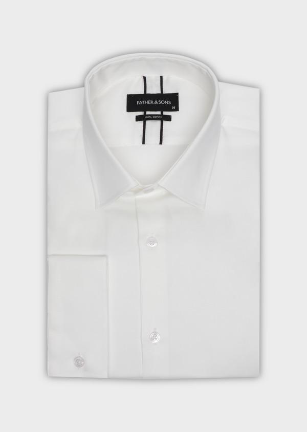 Chemise habillée Slim en satin de coton uni écru - Father and Sons 34972