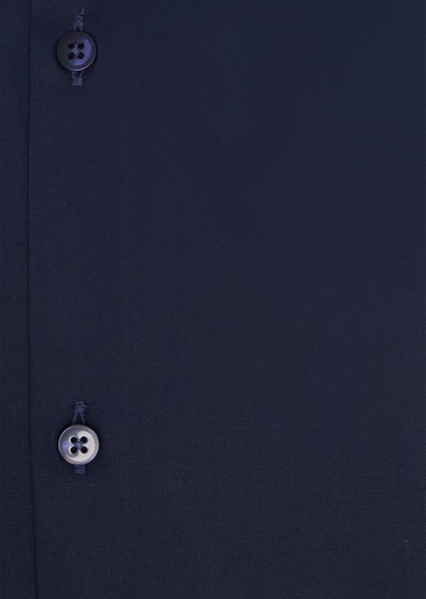 Chemise habillée Slim en satin de coton uni bleu marine - Father and Sons 34929