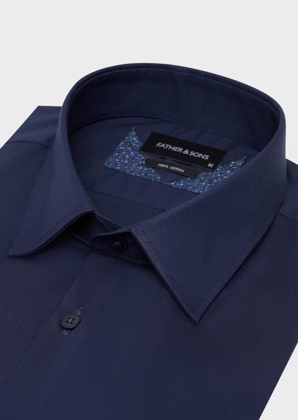 Chemise habillée Slim en satin de coton uni bleu marine - Father and Sons 34930
