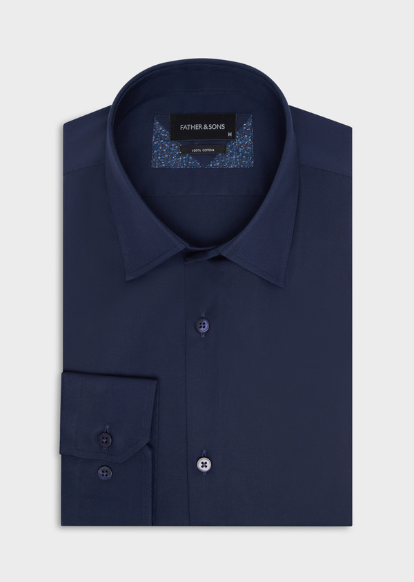 Chemise habillée Slim en satin de coton uni bleu marine - Father and Sons 34928