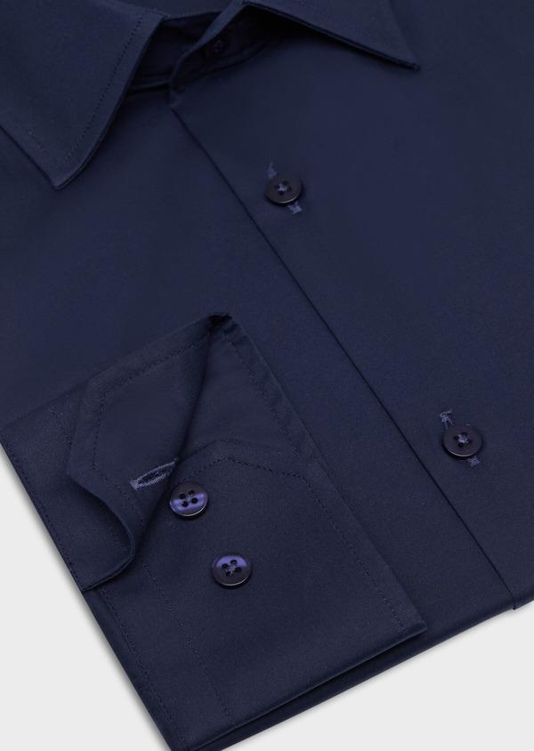 Chemise habillée Slim en satin de coton uni bleu marine - Father and Sons 34931