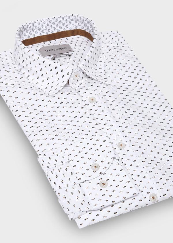 Chemise sport Regular en popeline de coton blanc à motif fantaisie - Father and Sons 29678