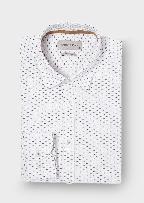 Chemise sport Regular en popeline de coton blanc à motif fantaisie - Father and Sons 29677