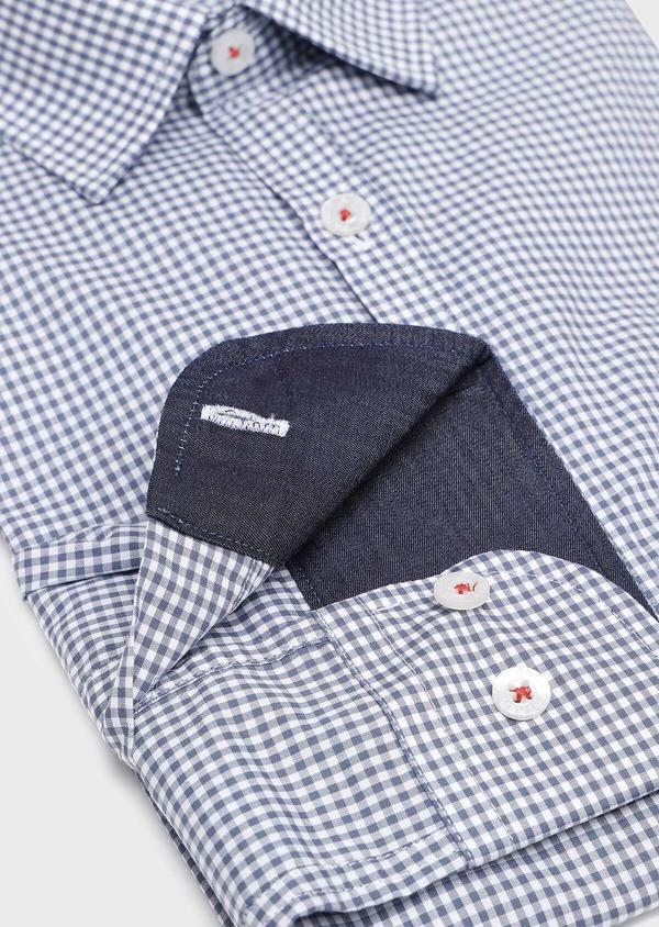 Chemise sport Regular en popeline de coton à carreaux blanc et bleu - Father and Sons 32601