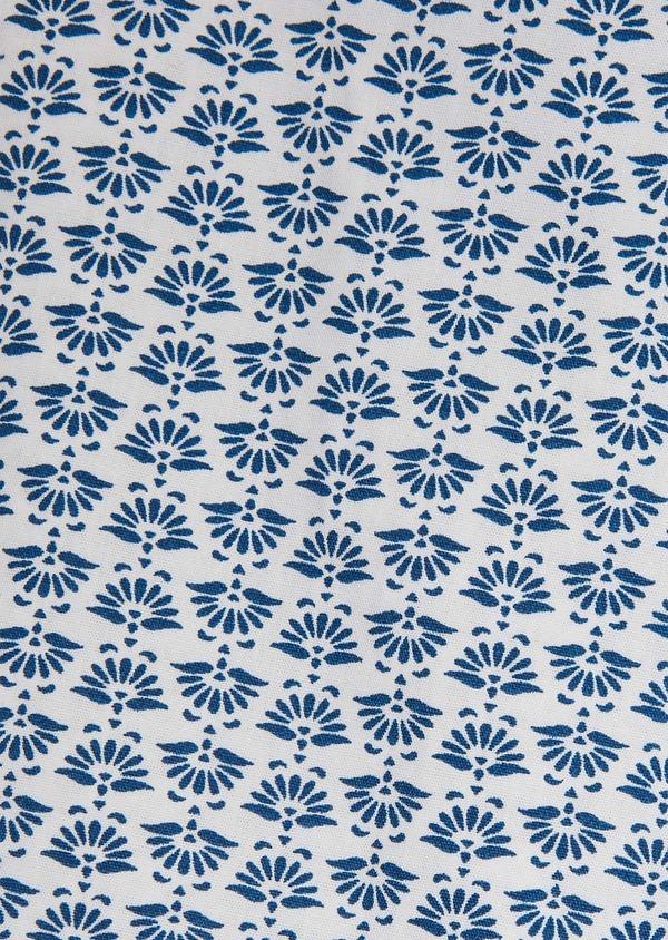 Chemise sport Regular en popeline de coton blanc à motif fantaisie bleu - Father and Sons 26262