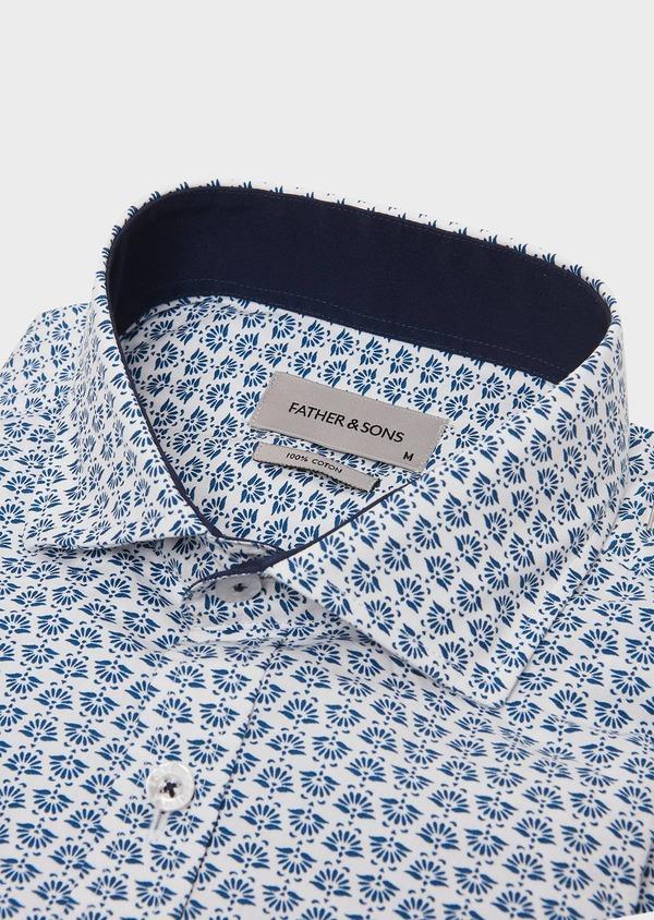 Chemise sport Regular en popeline de coton blanc à motif fantaisie bleu - Father and Sons 26263