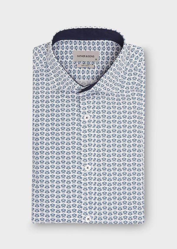 Chemise sport Regular en popeline de coton blanc à motif fantaisie bleu - Father and Sons 26261
