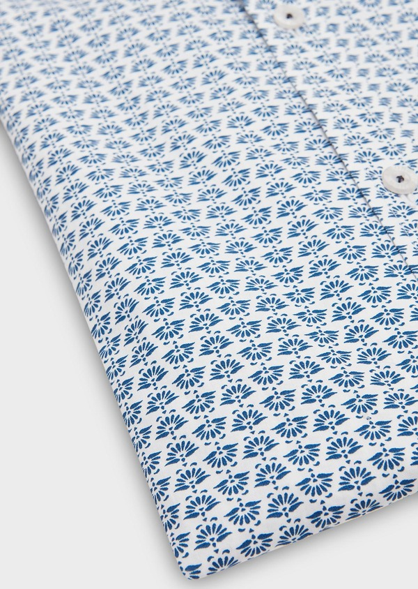 Chemise sport Regular en popeline de coton blanc à motif fantaisie bleu - Father and Sons 26264