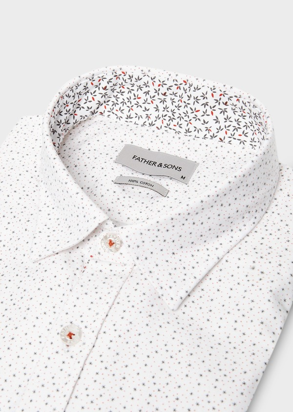 Chemise sport Regular en popeline de coton à motif fantaisie blanc - Father and Sons 27582