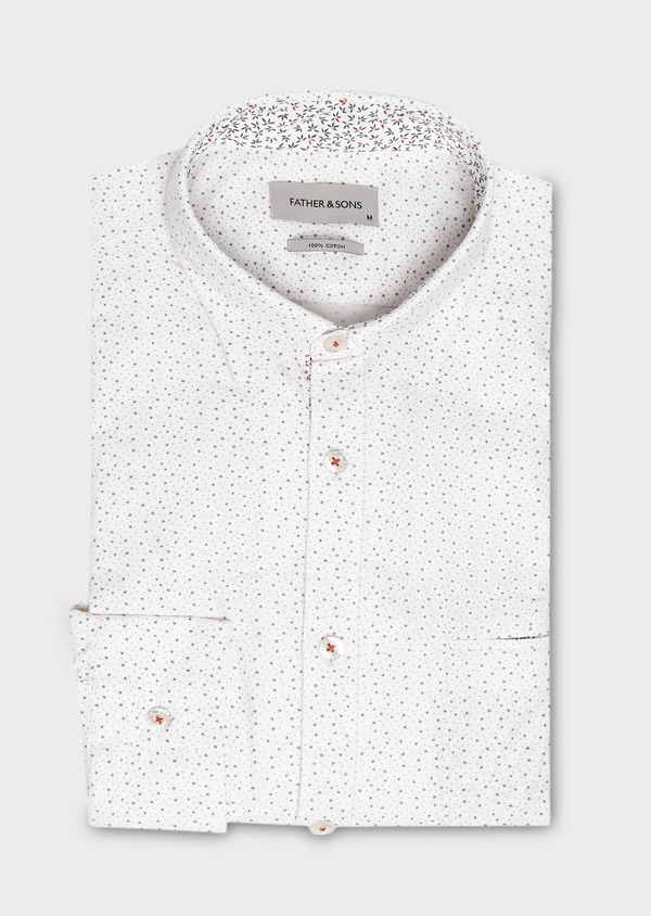 Chemise sport Regular en popeline de coton à motif fantaisie blanc - Father and Sons 27580