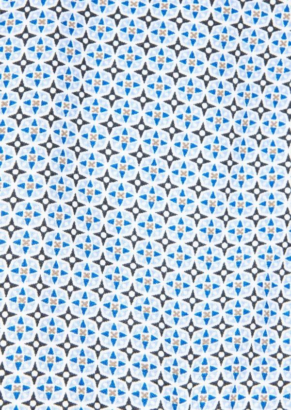 Chemise sport Regular en popeline de coton blanc à motif fantaisie bleu ciel - Father and Sons 27574
