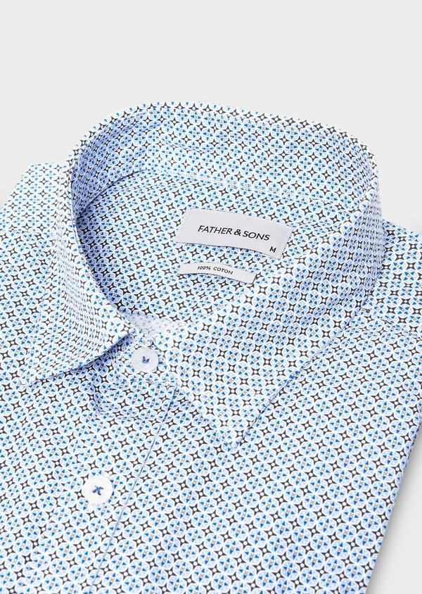 Chemise sport Regular en popeline de coton blanc à motif fantaisie bleu ciel - Father and Sons 27575