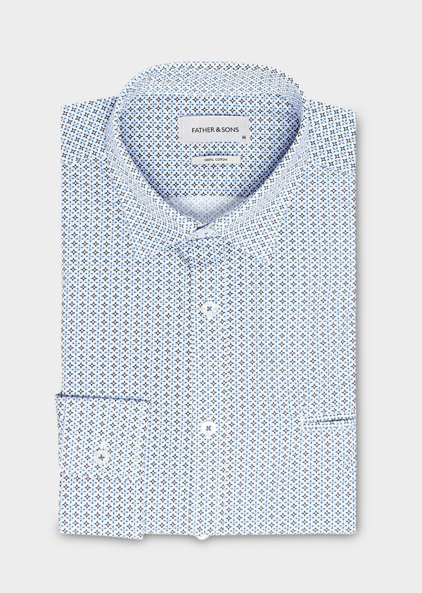 Chemise sport Regular en popeline de coton blanc à motif fantaisie bleu ciel - Father and Sons 27573