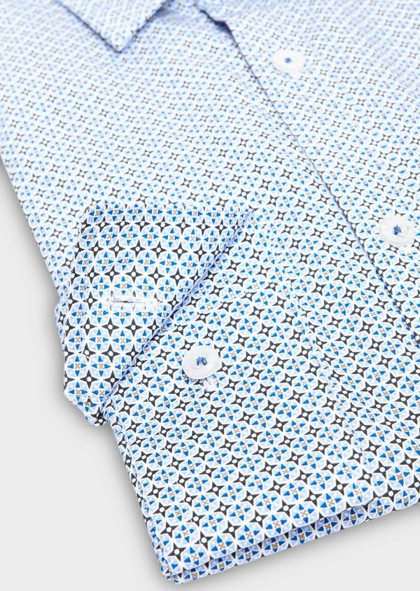 Chemise sport Regular en popeline de coton blanc à motif fantaisie bleu ciel - Father and Sons 27576