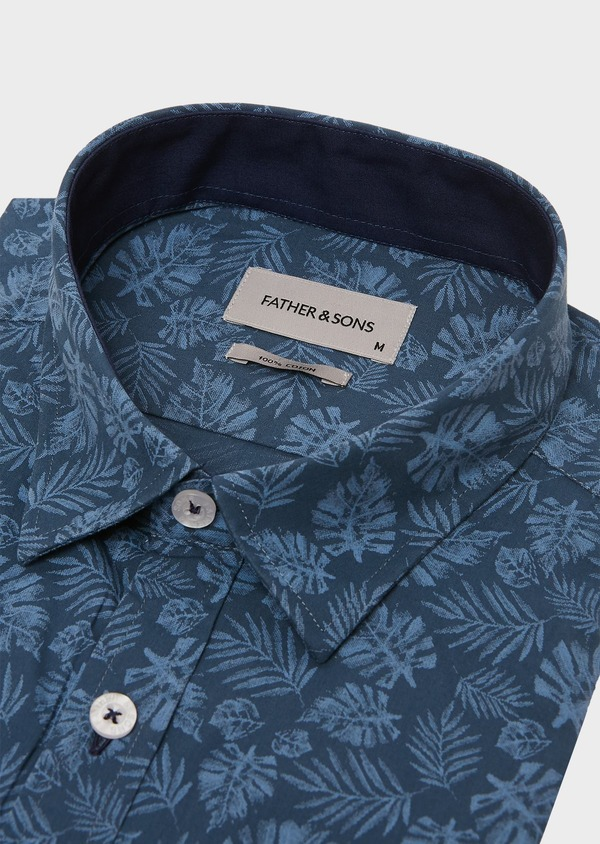 Chemise sport Regular en popeline de coton à motif fantaisie bleu jeans - Father and Sons 26256
