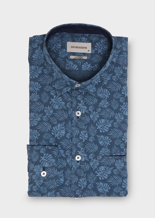 Chemise sport Regular en popeline de coton à motif fantaisie bleu jeans - Father and Sons 26254